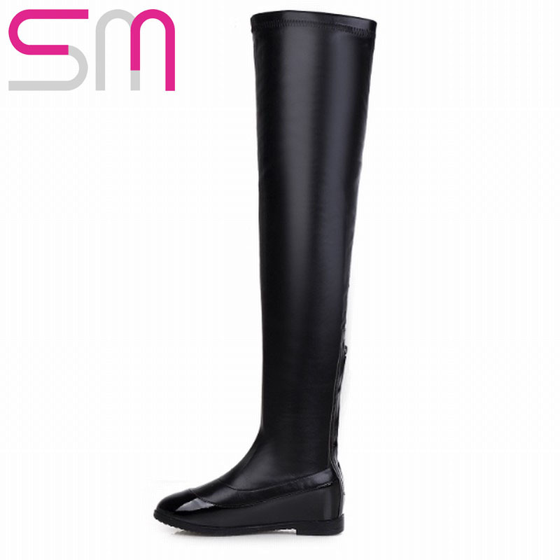 Здесь можно купить  Slim Patchwork Slip on Long Boots Over the Knee High Boots 2015 Brand Hidden Wedges Knight Boots Winter Boots Women Shoes Woman  Обувь