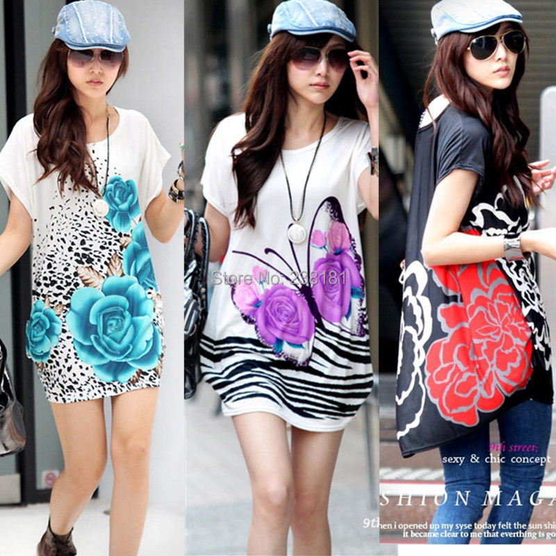 fashion women summer dress 2014 short sleeve o-neck bohemian beach floral print soft casual long tops plus size - Sunflower Fashion store