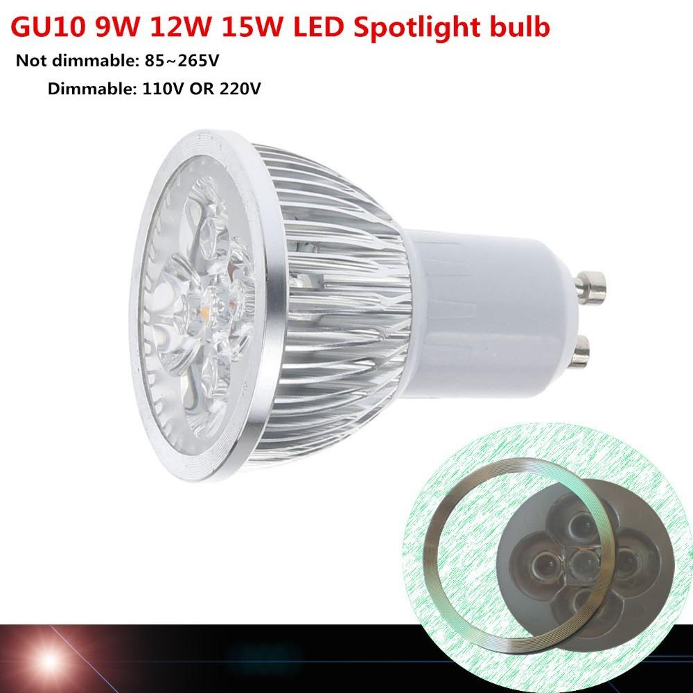 1pcs Super Bright 9W 12W 15W GU10 LED Bulb Light 110V 220V Dimmable Led Spotlights Warm/Natural/Cool White GU 10 LED lamp(China (Mainland))