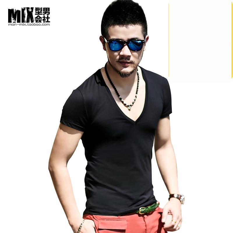 11 Colors Men Summer Sexy Deep V Neck T Shirt Pure Color Slim Tshirt Homme Lycra Irregular Men Top TeesОдежда и ак�е��уары<br><br><br>Aliexpress