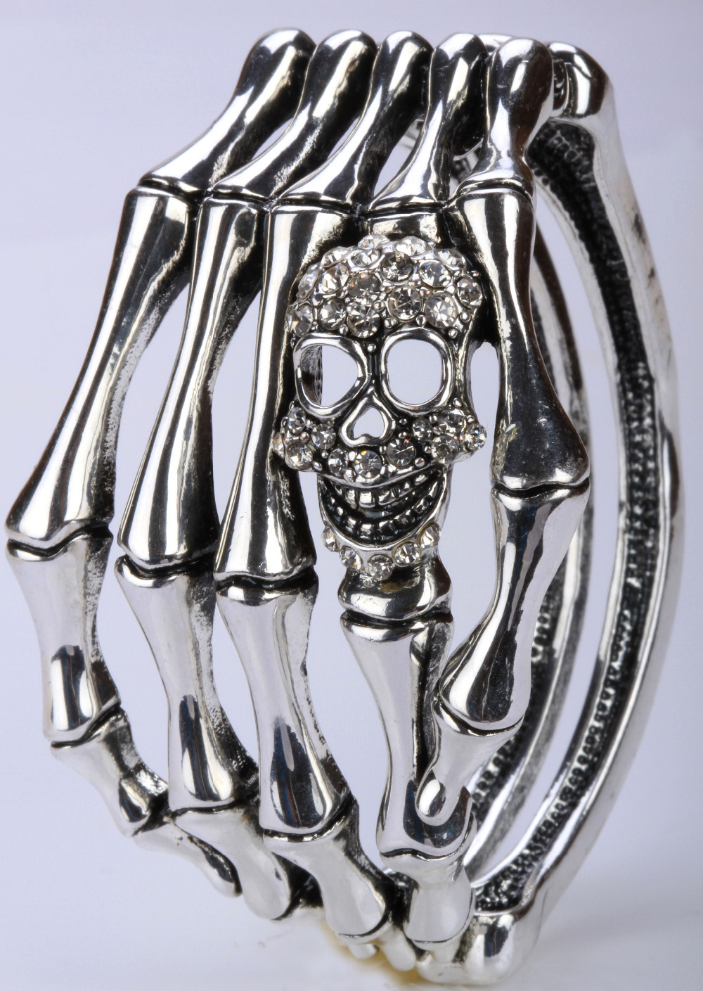 Skull skeleton hand bone bracelet bangle biker gothic bling jewelry gifts for women D08 wholesale dropshipping(China (Mainland))