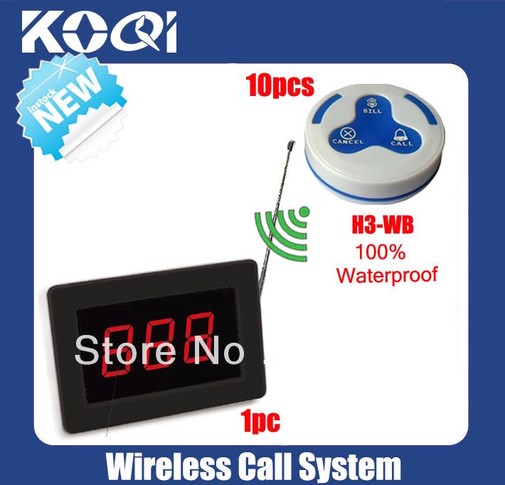 Restaurant waiter server paging system of 1 plashing Display K1000 + 10 waterproof 100% push Button K-H3 DHL free shipping free(China (Mainland))