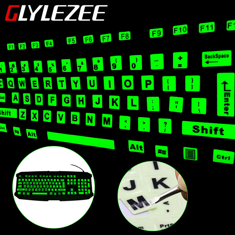 Glylezee Luminous English Full Keyboard Sticker Film Glow in the Dark Capital Letters Sticker with 2 Fonts(China (Mainland))