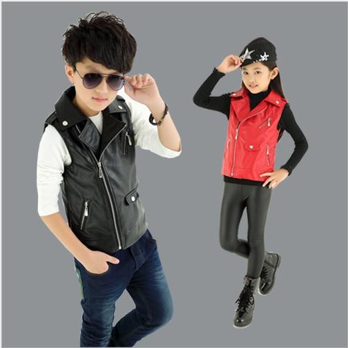 2015 Brand New Baby Boy Girls Vest Children  PU Leather Vest  Kids Zipper Gilet Baby Boys Vest For 3-14 Years Old 2 Colors<br><br>Aliexpress