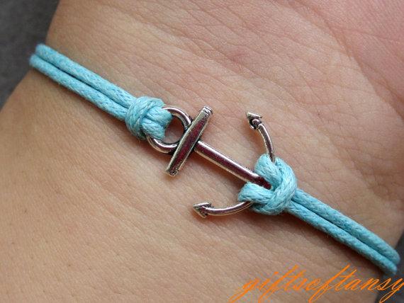 Anchor Bracelet-Cute Silver Anchor Bracelet, Blue Wax Cords Braclet, Best Gift for Friend-C224