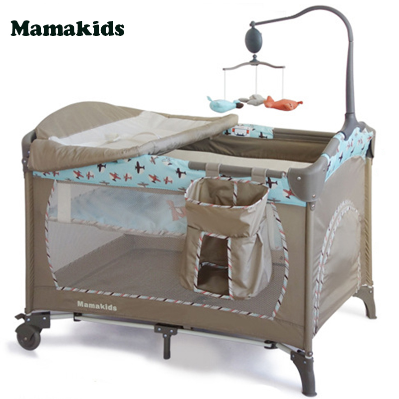 Baby's Folding Bed : Baby Portable Crib Folding Bed Children Travel Cot Bed 2 Layers ...