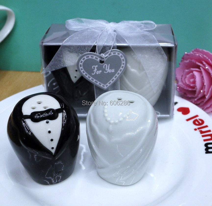 Wedding Party Gifts For Bride And Groom : bride and groom ceramic salt and pepper shaker party favors wedding ...