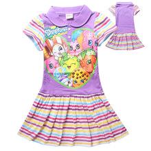 2016 hot saleslong section cotton girls dress children dress shopkins 6-12 years free shipping lavender summer dress little girl