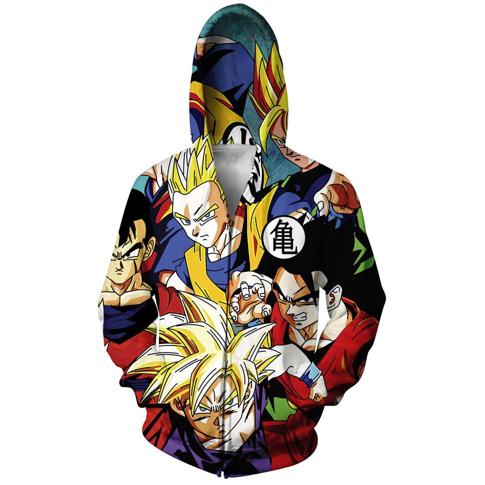 fashion Japanese anime Dragon Ball Z Goku Zip-Up Hoodie 3d sweatshirt mens hoodies autumn outerwear hoody F20511 - jingben store