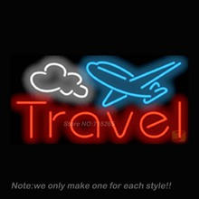 Travel with Airplane Neon Sign Recreation Room Art Design Signs Real Glass Tube Handcraft Neon Bulbs Store Display Gift 32x16(China (Mainland))