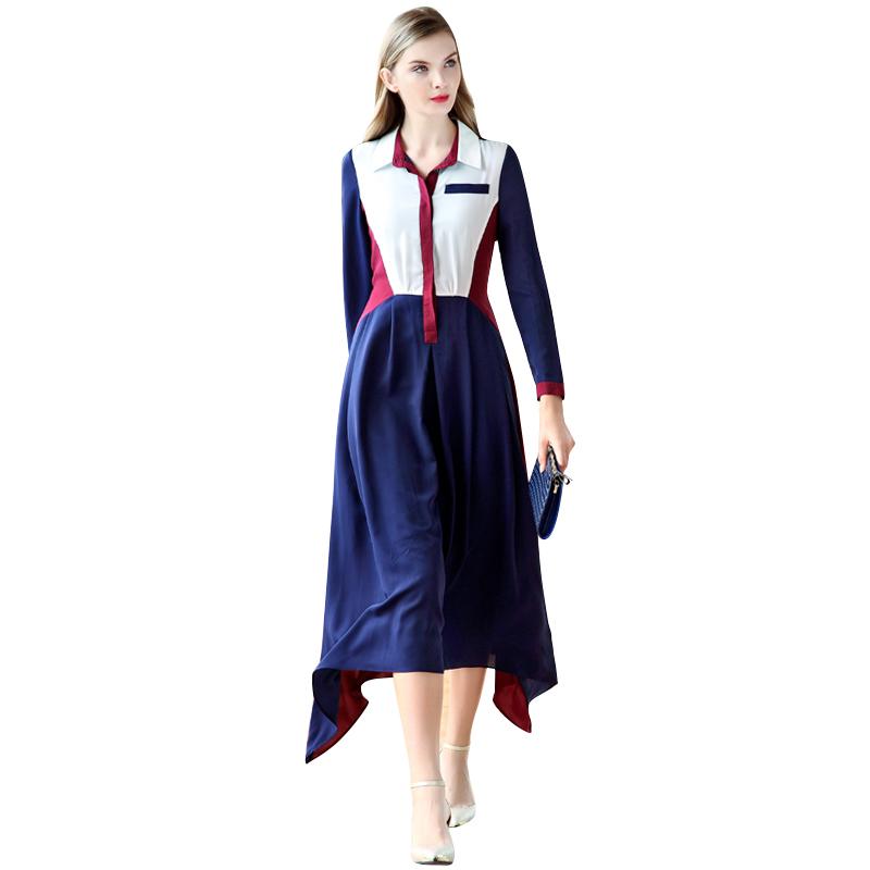 Women Summer Chiffon Dresses Long Sleeve 2016 New Plus Size Color Block Turn-Down Collar Maxi Shirt Dress Long Vestidos 2057Одежда и ак�е��уары<br><br><br>Aliexpress