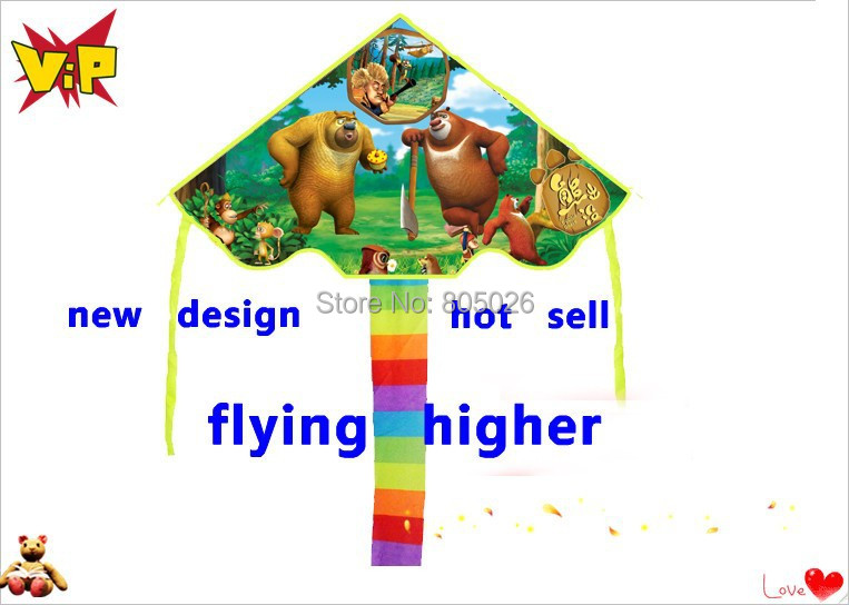 Free shipping high quality bear kites 2pcs/lot ripstop nylon fabric kite children kites kitty kevlar chinese paper kites(China (Mainland))