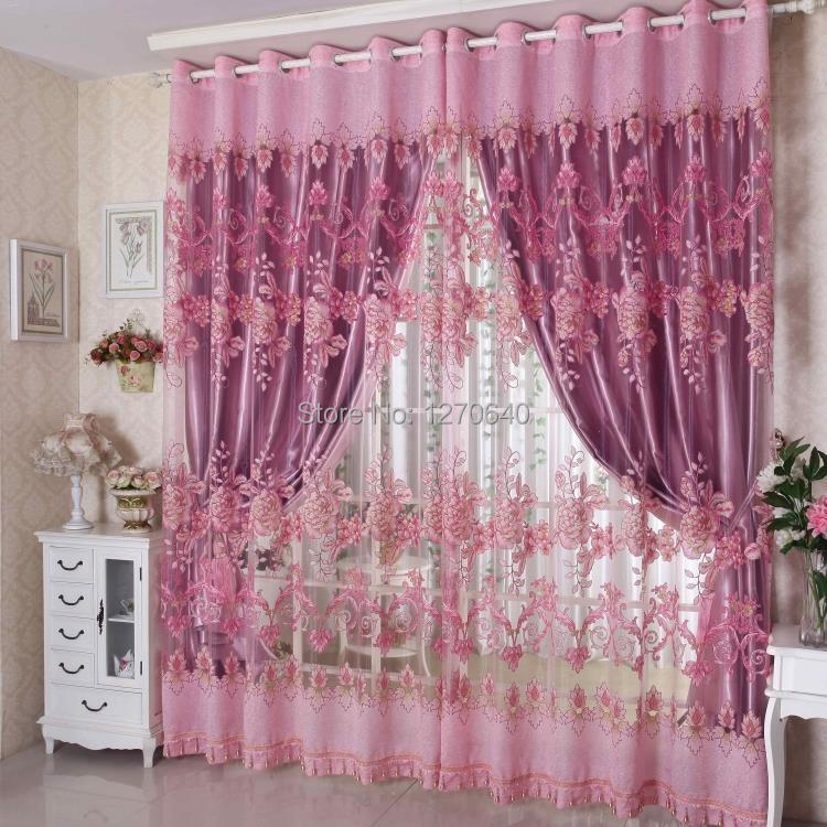 European Home Decor Embroidery Sheer With Blackout Curtains Bedroom Purple Tu