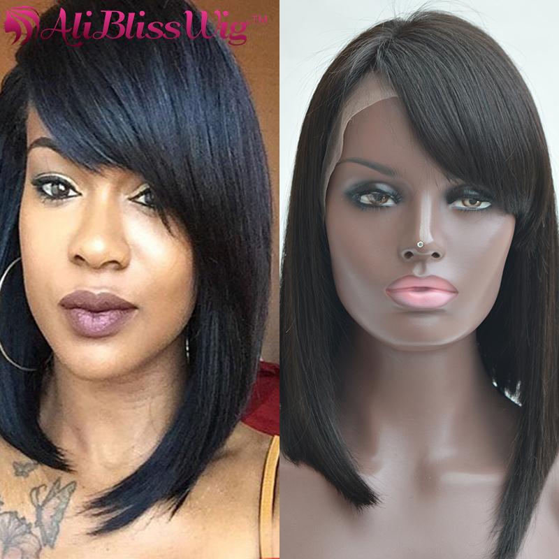 Glueless Short Bob Lace Front Wig With Side Bangs 150% Density 14 Inch Brazilian Virgin Remy Human Hair Bob Wigs For Black Women(China (Mainland))