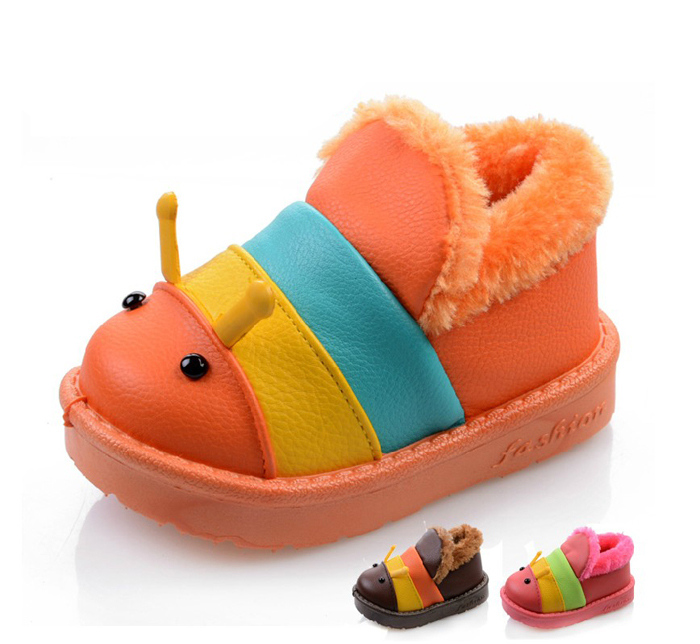 Child snow boots - 1 2 years old thickening baby shoes children toddler caterpillar cotton-padded male winter New Bali's store