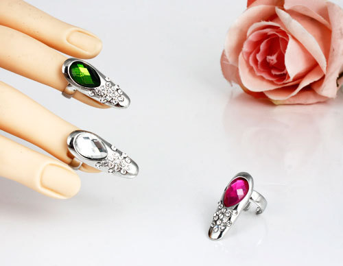 Fashion Jewelry Crystal Pattern Punk Cool Finger Nail Color Ring Jewellery Women - Lincy store