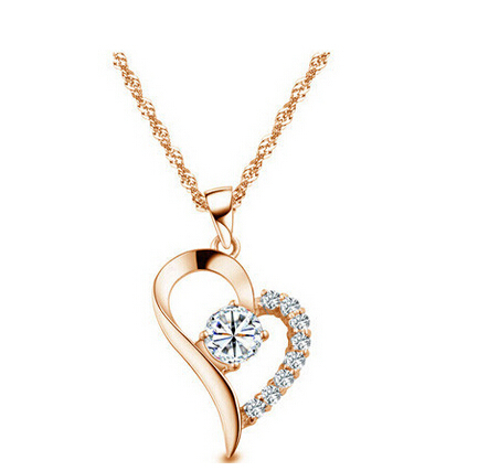 New Brand Bridal Free Shipping Wholesale 18K Platinum Plated Import Zircon Love Heart Pendant Necklace crystal Jewelry 4007-8146(China (Mainland))