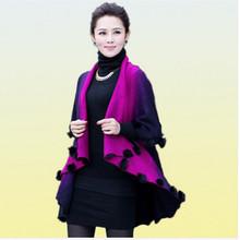 2016 New Autumn Winter Fashion Rabbit Fur Warm Coat Women Cardigan Female Knitted Wool Poncho Lady Cape Overcoat Plus Size