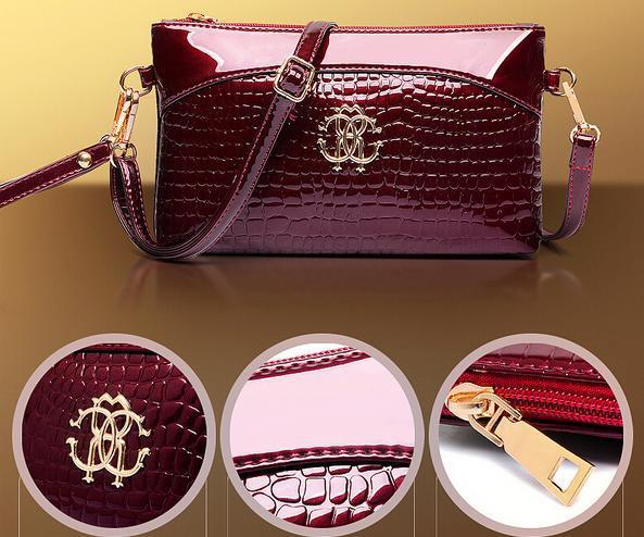 New 2015 Famous Brand AJS Patent Leather Crocodile Clutches Fashion Designer Purses Ladies Shoulder Bag Women Messenger Bags(China (Mainland))