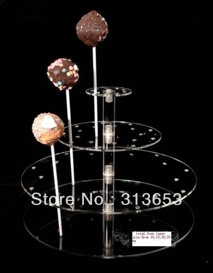 4 tier Transparent acrylic lollipop display stand, party and food stand(size 10,15,20,20cm)- lollipop candy stand(China (Mainland))