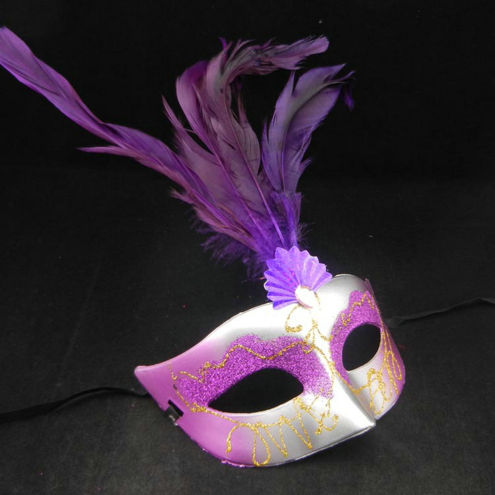 Princess Feathered Venetian Masquerade Masks 10pcs Half Face Lily Fancy Ball Party Mask Christmas Decorations for Party JSD-036(China (Mainland))