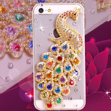 Bling Crystal Rhinestones beautiful peacock Diamond phone Case For iPhone 4S 5S 5C For Apple iPhone6 4.7inch 6 plus 5.5inch(China (Mainland))