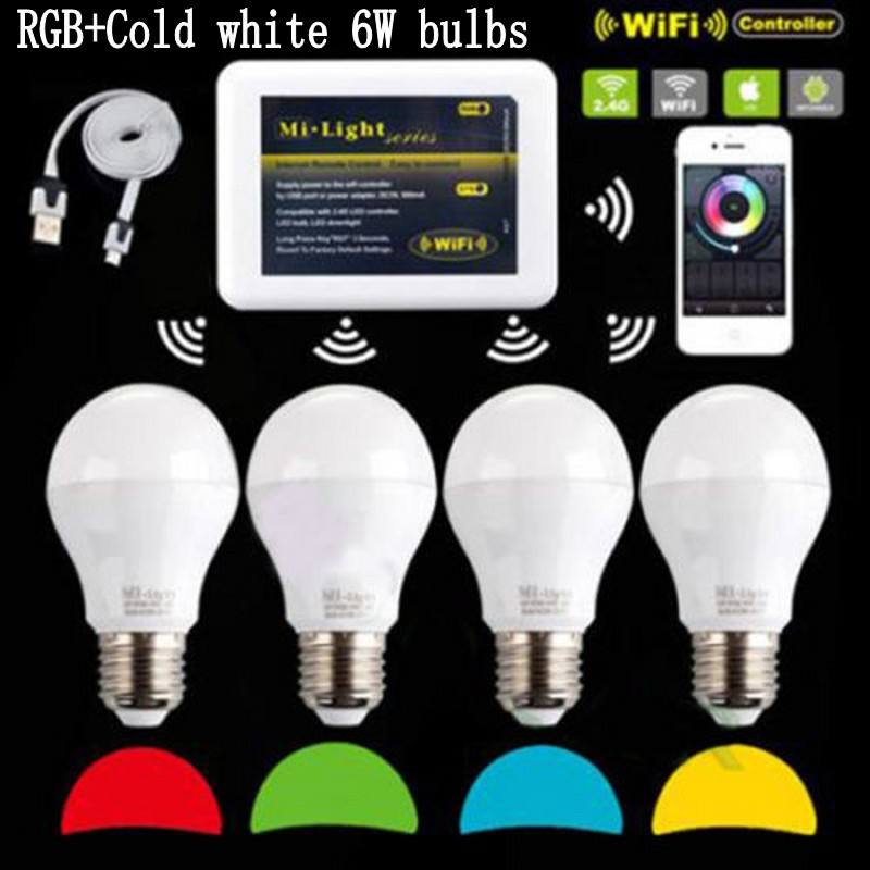 Mi Light iOS Android AC 110V 220V E27 6W RGBW (RGB+ cold white ) 2.4G Wifi Smart Light LED Bulb Lamp Dimmable wifi controller <br><br>Aliexpress