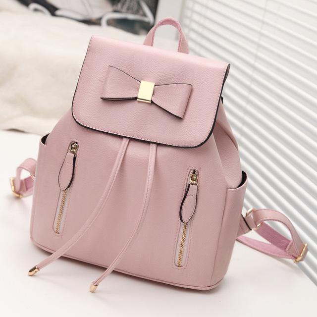 Лук женщин кожа рюкзак школьный женские рюкзаки женщины опрятный стиль Высокое качество ...