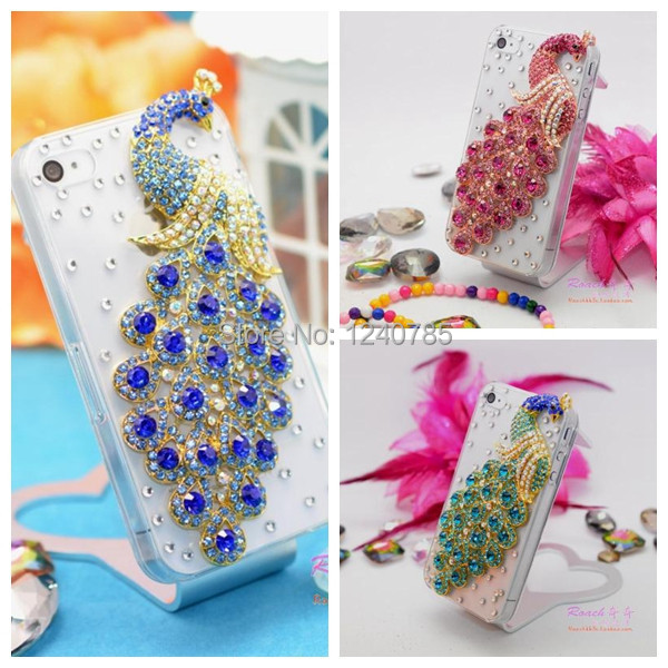 Bling Diamond Peacock Glossy Transparent Hard Case Cover For Apple iphone 5 5s cell phone(China (Mainland))