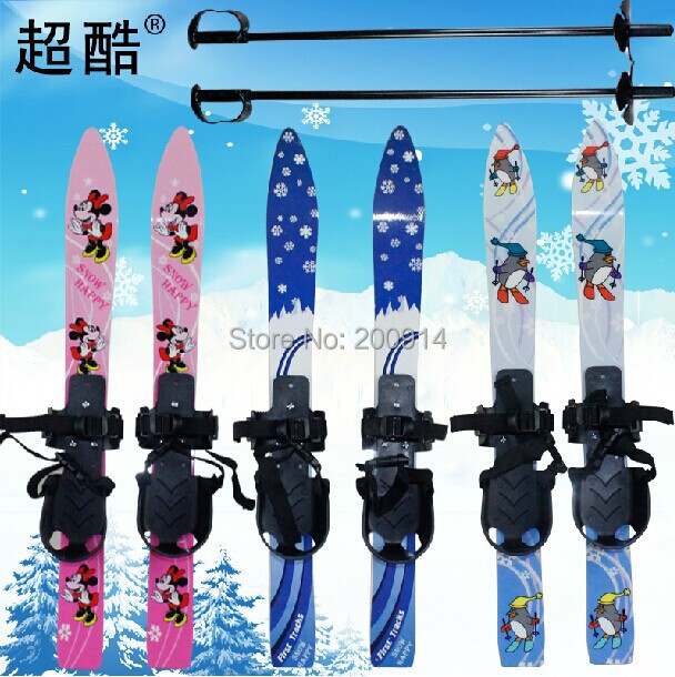 lovely double snowboard with skiing pole sled for kids sleigh sledge skiing snow scooter(China (Mainland))
