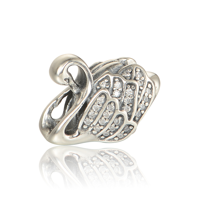 Fits Charm Pandora Bracelets Origina Silver Beads Swan Charms With CZ Stones Women DIY Jewelry Wholesale