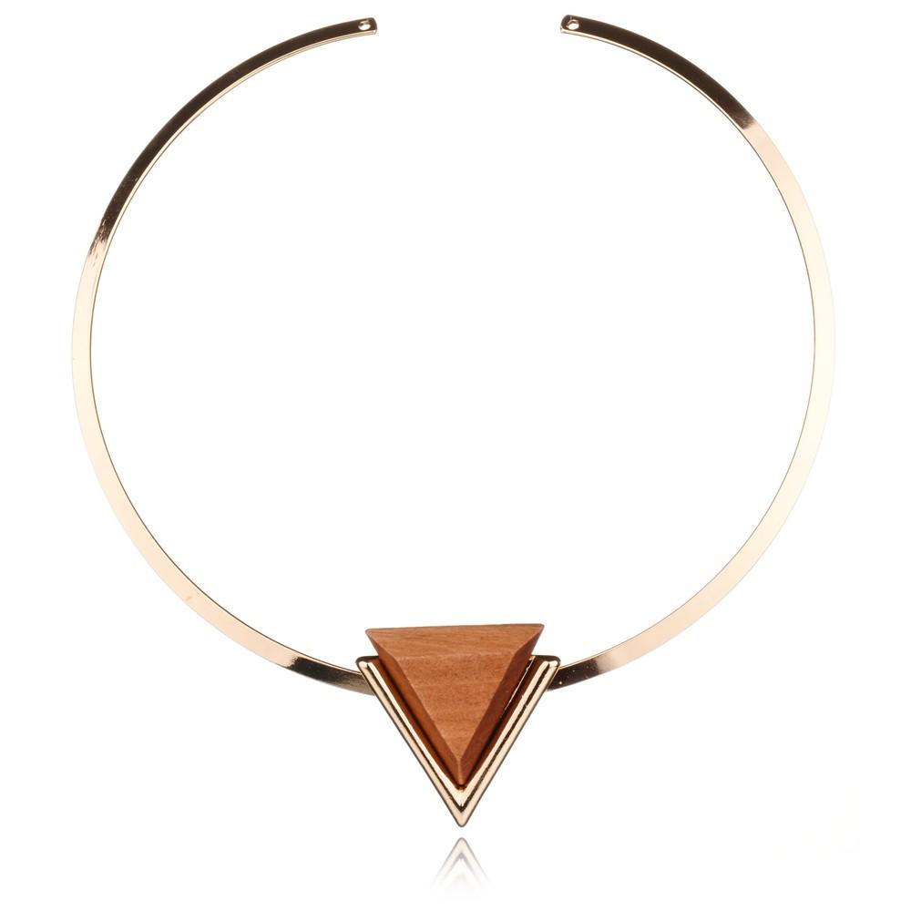 2016 New Fashion Simple Personality Punk Gold Plated Geometric Triangle Wood Charm Short Choker Necklace Jewelry Torques Women(China (Mainland))