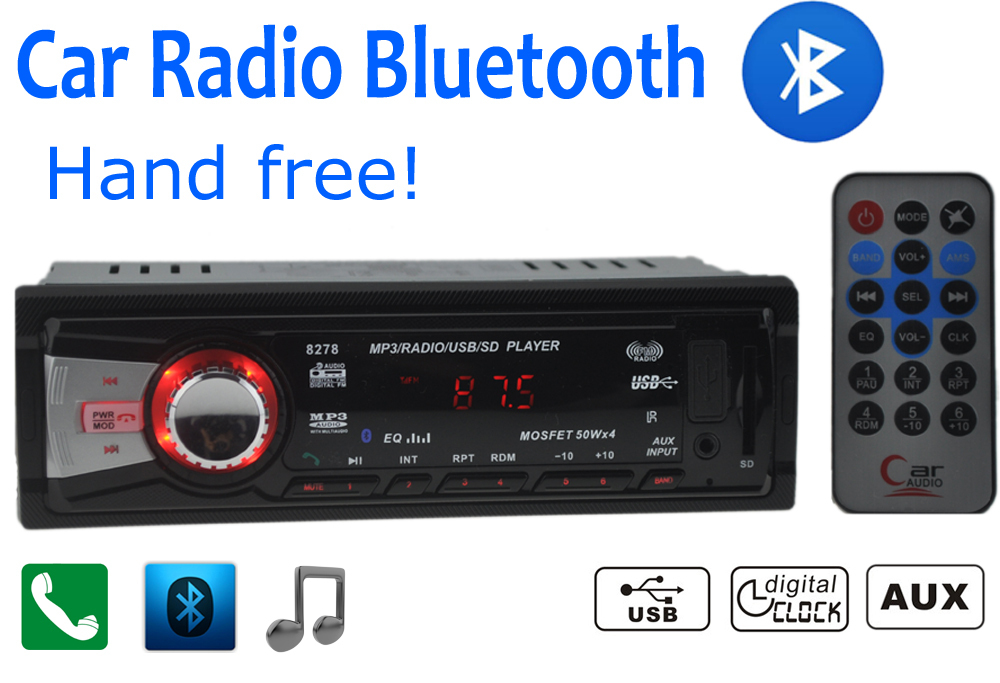 store product Car Radio Stereo Player Bluetooth Phone AUX IN MP FM USB  Din Remote Control For