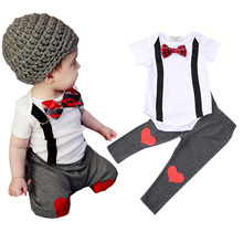 Trendy Summer Newborn Baby Rompers Infant Clothes Set Boys Clothing Suit Bow-knot Short Sleeves Tops+Heart Design Pants