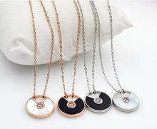 2015 New Natural Shell Pendant Necklace Stainless Titanium Steel Rose Gold Plated Woman Jewelry gift Wholesale Free Shipping(China (Mainland))