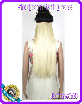 "24""(60cm) 120g straiht clip in synthetic hair extensions hairpiece hair pieces accessories color #613 Bleach Blonde"