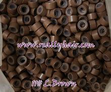 1000 шт./bottle кремния выстроились Micro Ссылки Кольца Бусы Волос Перо Расширения 11 # L. brown(China (Mainland))