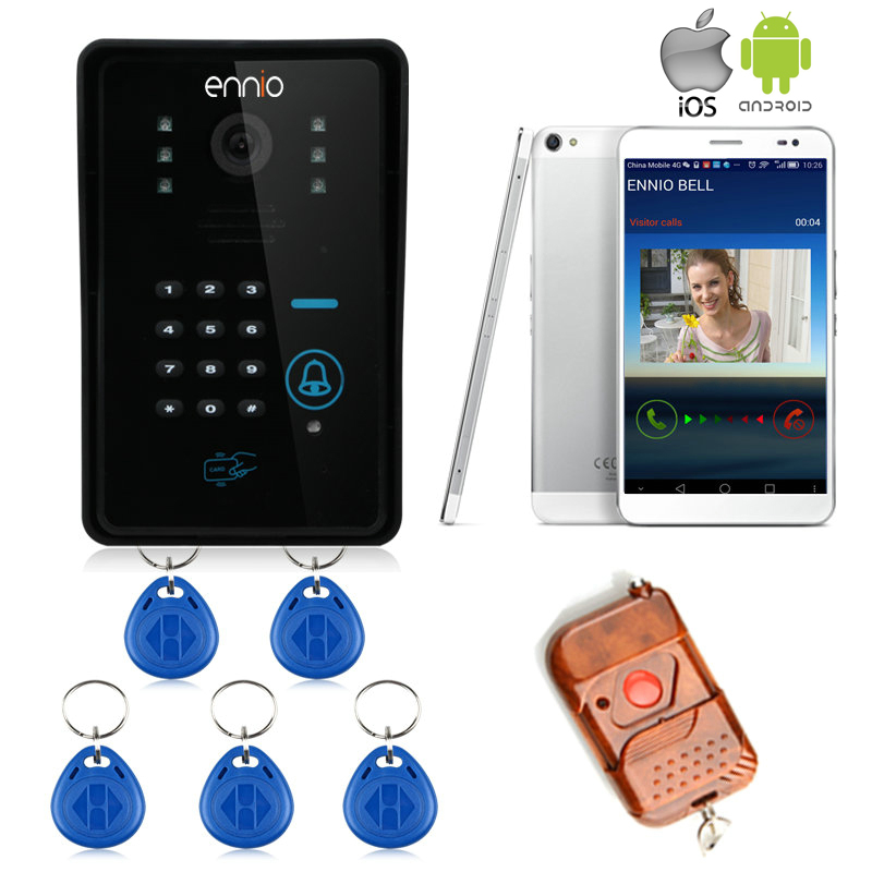 Brand New Wifi Wireless Code RFID Video Door Phone Intercom Doorbell For IOS Android Smart Phone Tablet Free In Stock Shipping(China (Mainland))