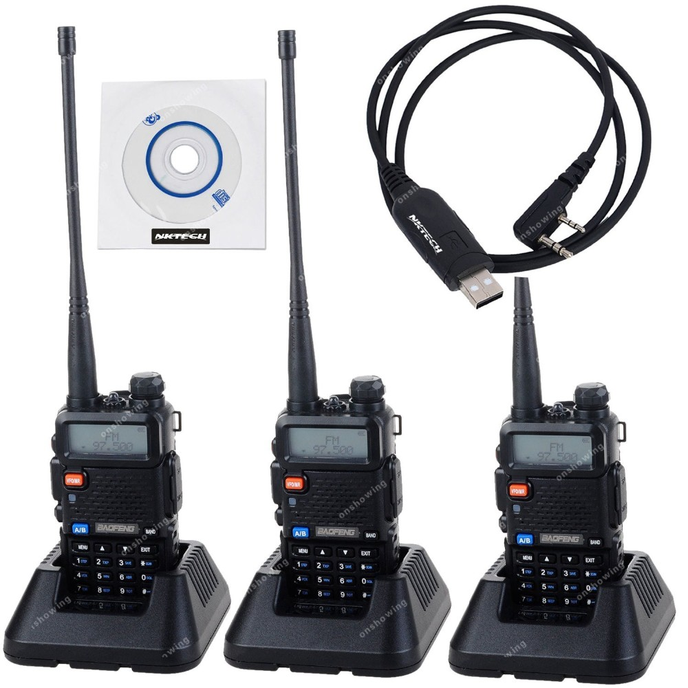 4pcs NKTECH USB Cable & BAOFENG UV-5R Dual Band VHF UHF 136-174/400-520MHz 5W CTCSS CDCSS FM Ham Transceiver Two Way Radio(China (Mainland))