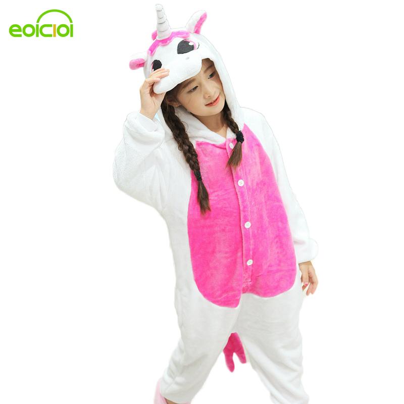 2017 New Pijamas kids winter animal cartoon unicorn onesie unicorn costume child boys girls pyjama christmas kids pajama sets(China (Mainland))