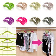 10 PCS Random Color!! Home Creative Mini Flocking Clothes Hanger Easy Hook Closet Organizer(China (Mainland))