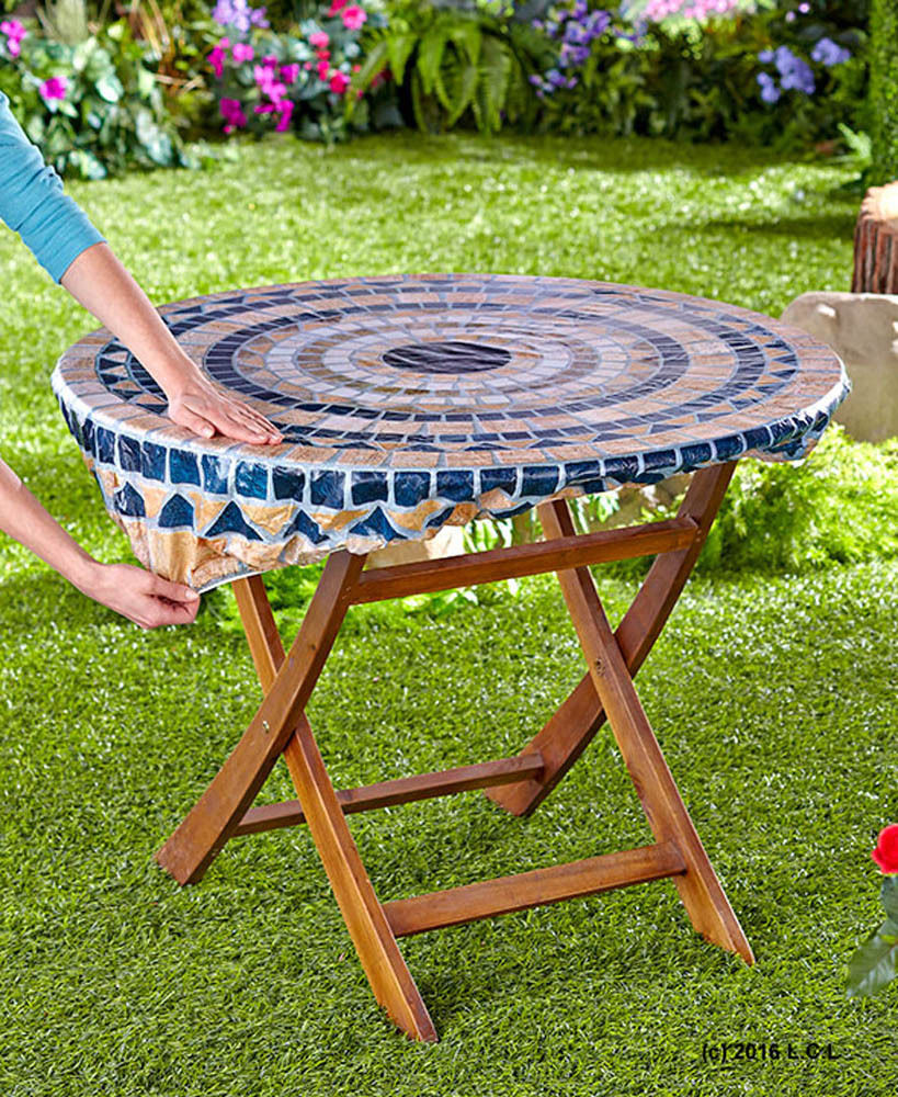 30 Pcs/ LOT Fitted Mosaic Table Cover Mosaic Tuscan Tile Design ROUND FITTED TABLECLOTH Patio TABLE Cover(China (Mainland))