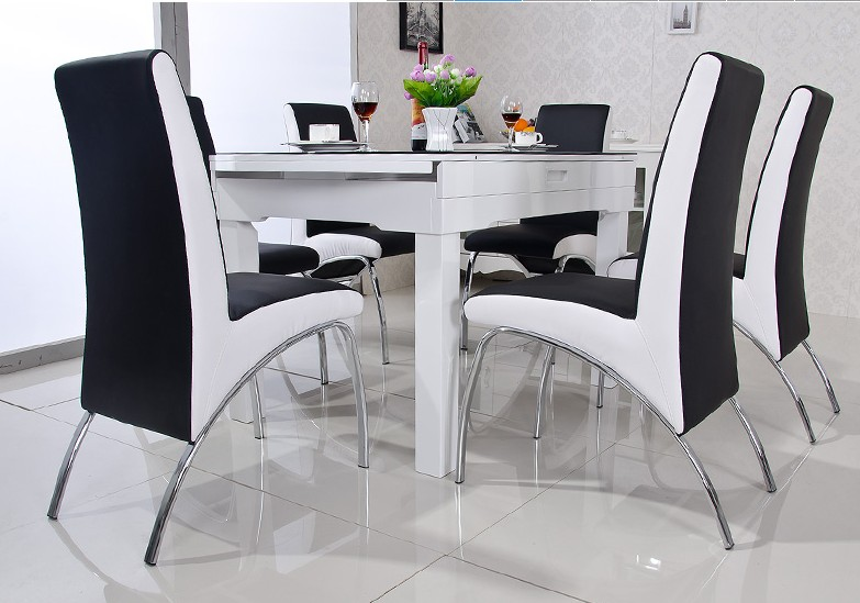 Buy modern dining chair pu leather v for Salle a manger moderne ikea