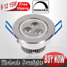 10pcs/lot 9w 12w 15w cool white warm white dimmable LED Recessed Downlight AC110V 220V  for home bathroom kitch store lights(China (Mainland))