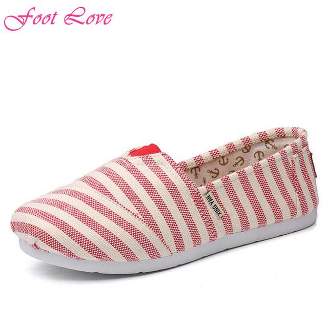 Новое женщины полосатый плоские туфли весна / осень свободного покроя парусиновые туфли мокасины горячая распродажа женские квартиры размер 35 - 40
