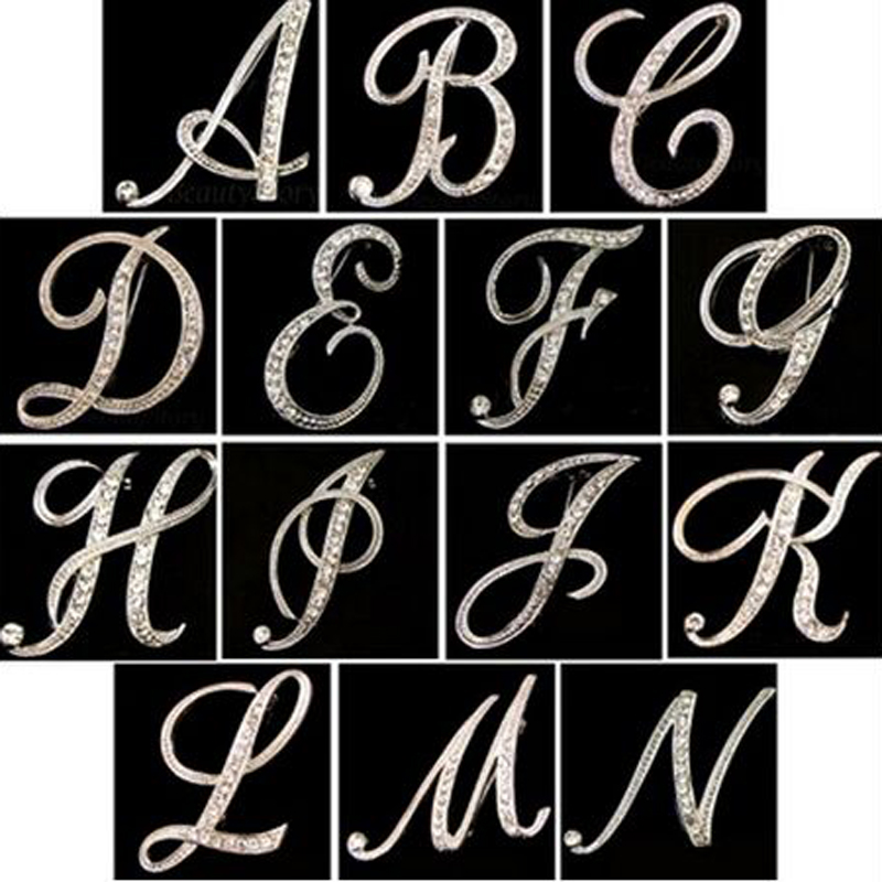 2016 New Design of Classic Crystal 26 Letters Brooch Fashion Temperament Clothing Accessories for Women(China (Mainland))