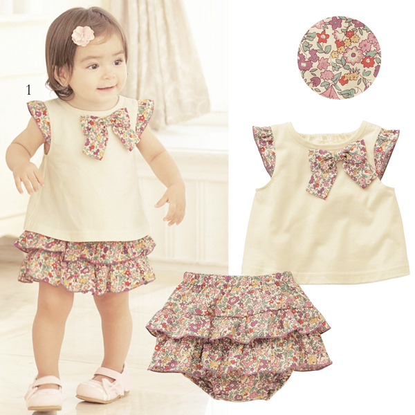 Гаджет  New Flowers Bow-knot Tops+Ruffle Culottes 2PCS Set Outfits Kids Girls Clothes 0-3Y Free shipping&Drop shipping None Детские товары