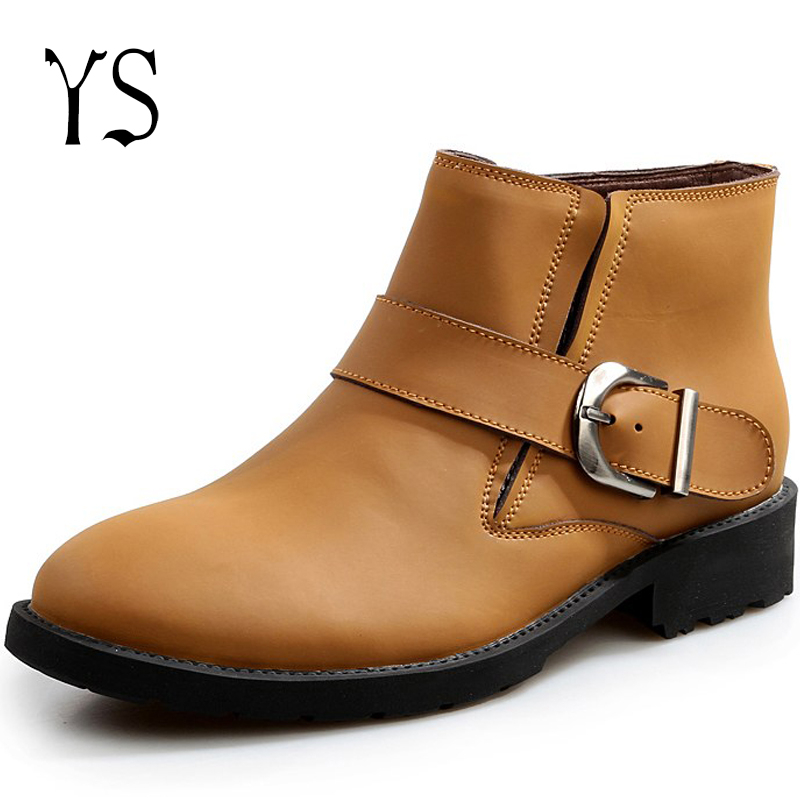 Y-s 2016 New Mens Genuine Leather Short Boots Mans Brown Elastic Side Flat Dress Shoes Adults Classic Buckle Ankle Brogue s-034<br><br>Aliexpress