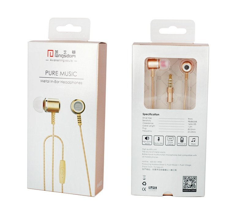 Rose Gold Earphone Head phone Original Brand Stereo Bass 3.5mm Quality Metal Earphones For Samsung iphone Xiaomi MP3 Auriculares
