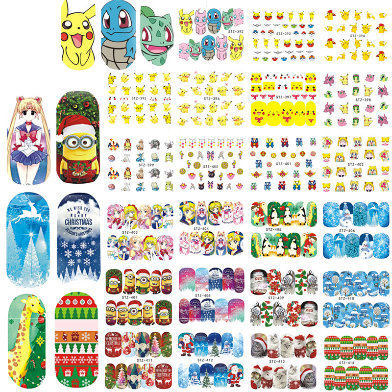 2017 NEW 48Sheets Cartoon/Christmas Nail Art Water Transfer Stickers Decals Snow Flower Beauty Full Wraps Manicure LASTZ392-439(China (Mainland))